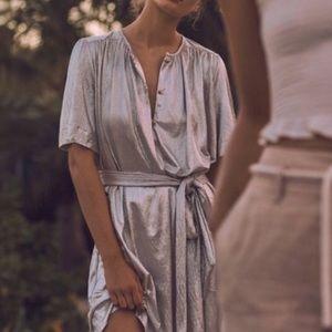 Sabina musayev metallic silver shirt dress large
